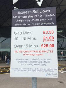 Stansted quick drop/pick up parking fees